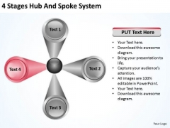 4 Stages Hub And Spoke System Ppt Non Profit Business Plan Template Free PowerPoint Templates