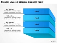 4 Stages Layered Diagram Business Tasks Ppt Plan PowerPoint Slides