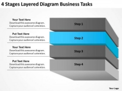 4 Stages Layered Diagram Business Tasks Ppt Plan PowerPoint Template