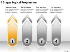 4 Stages Logical Progression Basic Business Plan PowerPoint Slides