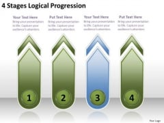 4 Stages Logical Progression Plan Business PowerPoint Templates