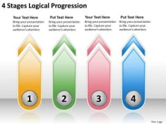 4 Stages Logical Progression Sample Business Continuity Plan PowerPoint Templates