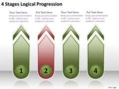 4 Stages Logical Progression Strategic Business Plans PowerPoint Templates