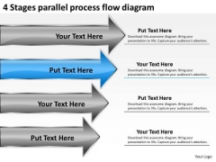 4 Stages Parallel Process Flow Diagram Ppt 5 Year Business Plan PowerPoint Slides
