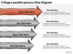 4 Stages Parallel Process Flow Diagram Ppt Business Plan Cover Letter PowerPoint Slides