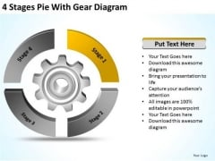 4 Stages Pie With Gear Diagram Business Succession Planning PowerPoint Slides
