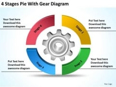 4 Stages Pie With Gear Diagram How To Create Business Plan PowerPoint Templates