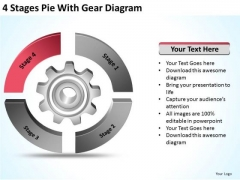 4 Stages Pie With Gear Diagram Ppt Business Plan PowerPoint Slides