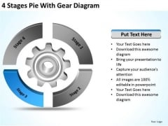 4 Stages Pie With Gear Diagram Ppt Business Plan PowerPoint Templates