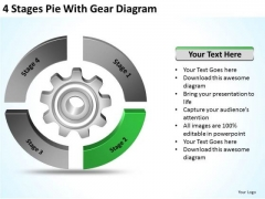 4 Stages Pie With Gear Diagram Ppt Business Plans PowerPoint Slides