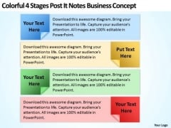 4 Stages Post It Notes Business Concept Web Design Plan PowerPoint Templates