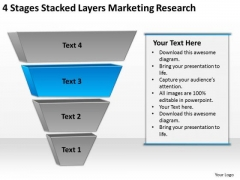 4 Stages Stacked Layers Marketing Research Ppt Non Profit Business Plan PowerPoint Templates