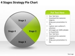 4 Stages Strategy Pie Chart Business Plan PowerPoint Slides