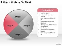 4 Stages Strategy Pie Chart Business Plan PowerPoint Templates
