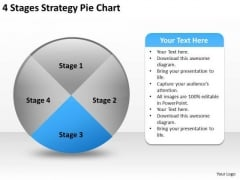 4 Stages Strategy Pie Chart Easy Business Plans PowerPoint Slides