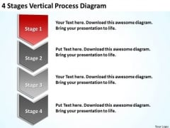 4 Stages Vertical Process Diagram Insurance Business Plan PowerPoint Templates