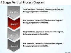 4 Stages Vertical Process Diagram Mini Business Plan Template PowerPoint Slides