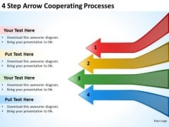 4 Step Arrow Cooperating Processes Marketing Plan Template PowerPoint Templates