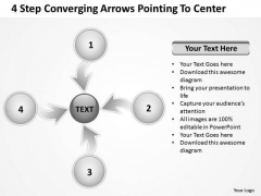 4 Step Converging Arrows Poiting To Center Ppt Circular Flow Process PowerPoint Slides