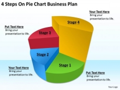 4 Steps On Pie Chart Business Plan Sample PowerPoint Templates
