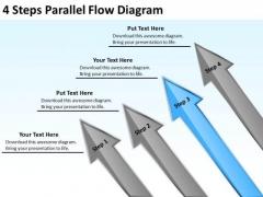 4 Steps Parallel Flow Diagram Business Plan Outline Sample PowerPoint Templates