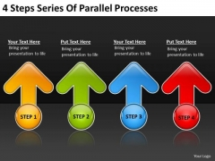 4 Steps Series Of Parallel Processes Courier Business Plan PowerPoint Templates