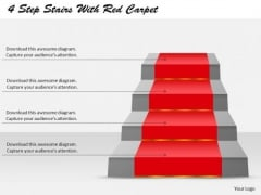 4 Steps Stairs With Carpet PowerPoint Presentation Template