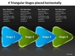 4 Triangular Stages Placed Horizontally Electrical Schematic PowerPoint Templates