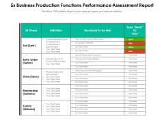 5S Business Production Functions Performance Assessment Report Ppt PowerPoint Presentation File Slides PDF