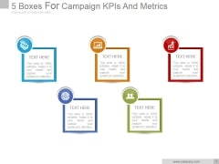 5 Boxes For Campaign Kpis And Metrics Good Ppt PowerPoint Presentation Designs