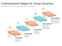 5 Development Stages For Group Dynamics Ppt PowerPoint Presentation Slides Mockup PDF