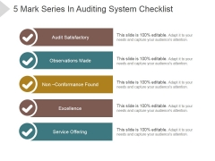5 Mark Series In Auditing System Checklist Ppt PowerPoint Presentation Topics