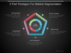 5 Part Pentagon For Market Segmentation Ppt PowerPoint Presentation Topics