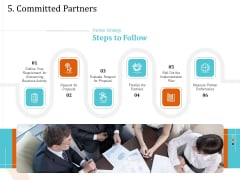 5 Pillars Business Long Term Plan 5 Committed Partners Ppt Visual Aids Ideas PDF