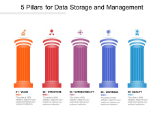 5 Pillars For Data Storage And Management Ppt PowerPoint Presentation File Background Images PDF