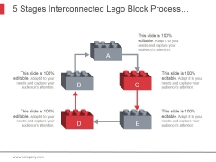 5 Stages Interconnected Lego Block Process Work Flow Diagram Ppt PowerPoint Presentation Visuals