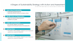 5 Stages Of Sustainability Strategy With Action And Assessment Ppt Model Graphic Tips PDF