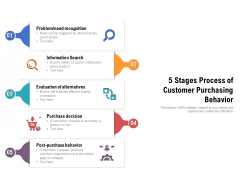 5 Stages Process Of Customer Purchasing Behavior Ppt PowerPoint Presentation Gallery Format Ideas PDF