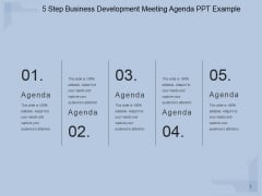 5 Step Business Development Meeting Agenda Ppt PowerPoint Presentation Infographic Template