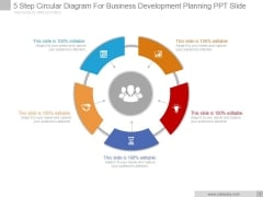 5 Step Circular Diagram For Business Development Planning Ppt PowerPoint Presentation Styles
