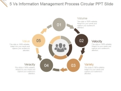 5 Vs Information Management Process Circular Ppt PowerPoint Presentation Slides