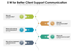 5 W For Better Client Support Communication Ppt PowerPoint Presentation Gallery Objects PDF