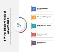 5 W For Efficient Project Governance Ppt PowerPoint Presentation File Inspiration PDF