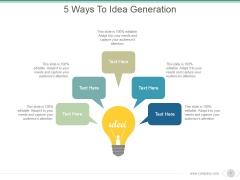5 Ways To Idea Generation Ppt PowerPoint Presentation Visual Aids