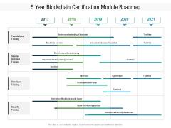 5 Year Blockchain Certification Module Roadmap Formats