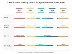 5 Year Business Roadmap For Lean Six Sigma Continuous Enhancement Graphics