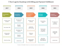 5 Year Logistic Roadmap With Billing And Payment Fulfillment Diagrams