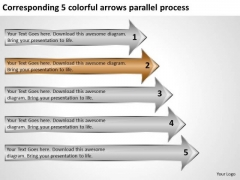5 Colorful Arrows Parallel Process Business Planning Software PowerPoint Slides