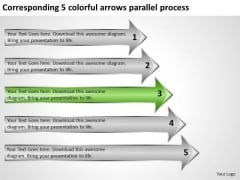 5 Colorful Arrows Parallel Process Clothing Store Business Plan PowerPoint Slides