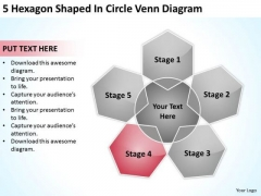 5 Hexagon Shaped In Circle Venn Diagram Network Marketing Business Plan PowerPoint Templates